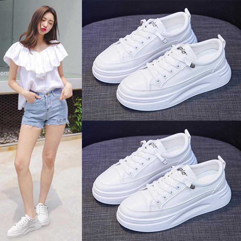策域小白鞋女鞋2021夏季新款透气学生板鞋韩版增高松糕鞋休闲板鞋