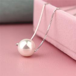 百搭925纯银项链短女单颗珍珠吊坠配饰日韩国锁骨链学生生日礼物