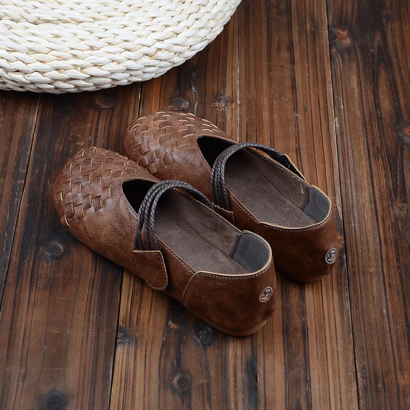 复古森系单鞋春季新款平底百搭软底女鞋魔术贴休闲豆豆鞋手工女鞋