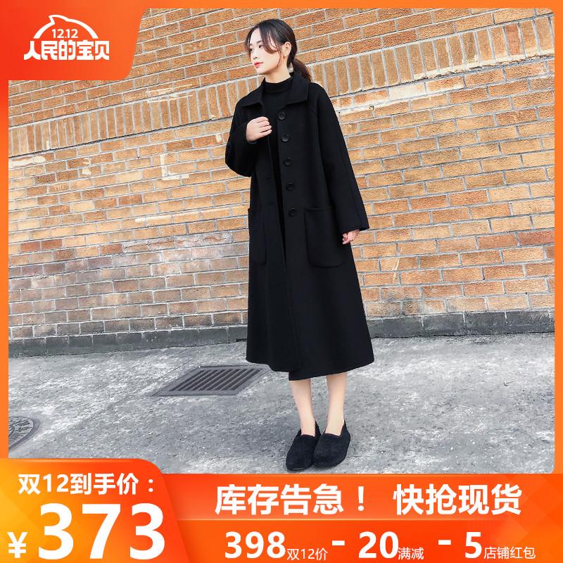 黑色双面羊绒呢子大衣女2019新款女装秋冬长款宽松过膝羊毛呢外套