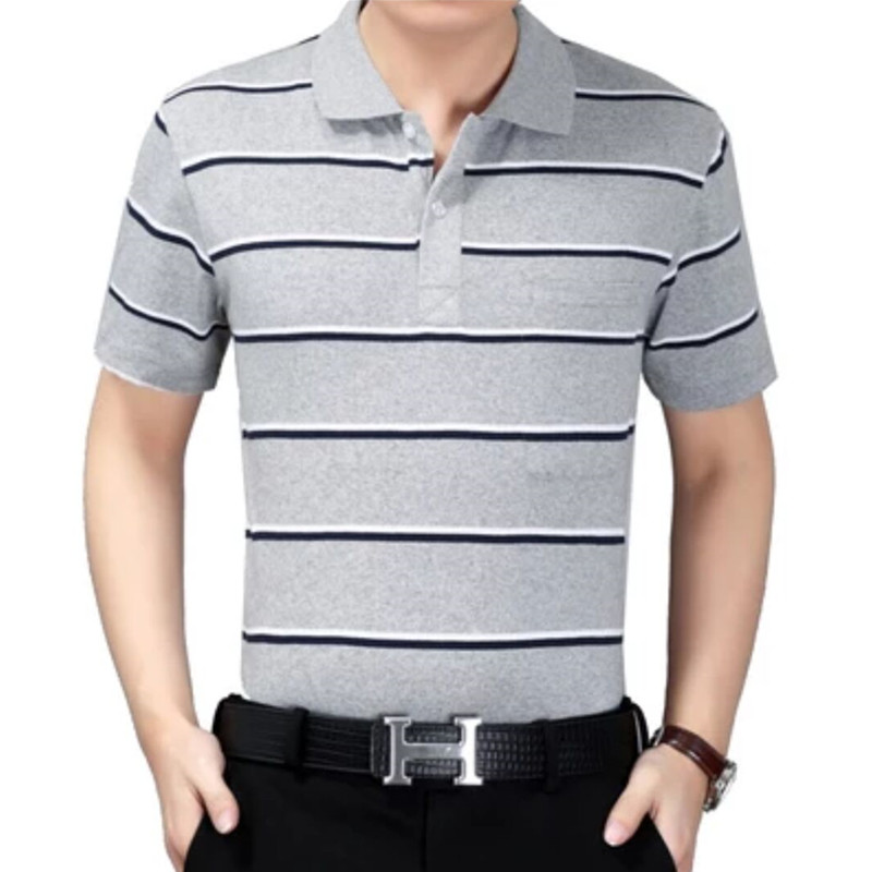 夏季中年男士翻领短袖t恤条纹纯棉体恤衫有口袋男上衣大码爸爸装