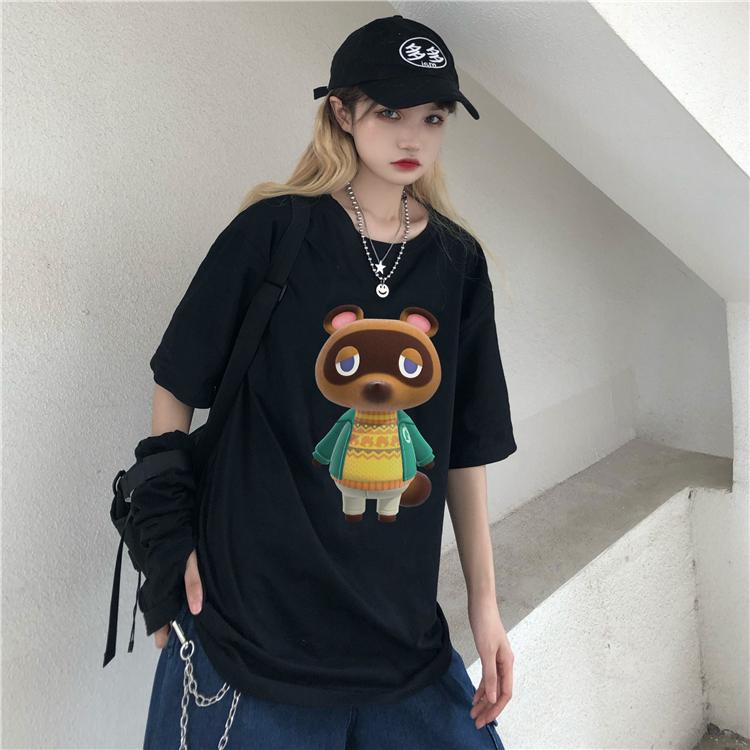 實拍動物森友會動森角色印花T恤100%純棉2020款t恤女 18-24周歲