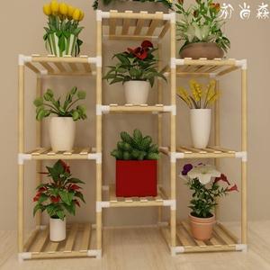 【住宅家具】简易实木组装花架室内客厅阳台多肉吊兰花盆架子特价