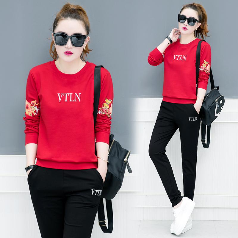 2018女装秋季新款时尚韩版跑步卫衣休闲显瘦运动服套装两件套15