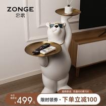 輕奢創意墨鏡北極熊大型落地擺件收納雙托盤客廳喬遷新居軟裝飾品