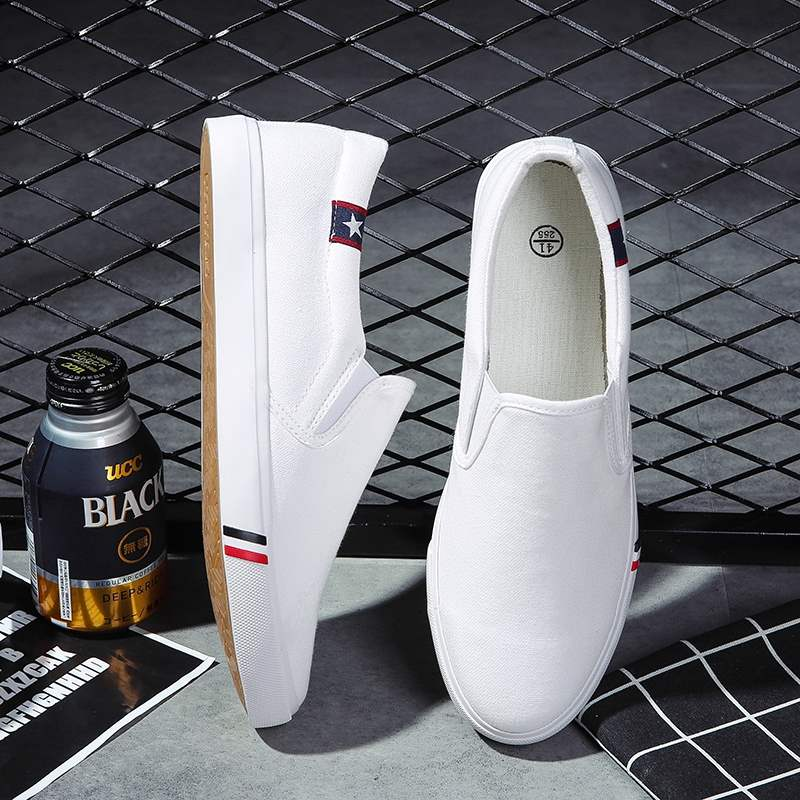 Summer canvas shoes no laces mens wear small white shoes youth board shoes simple no laces slob shoes mens cloth shoes