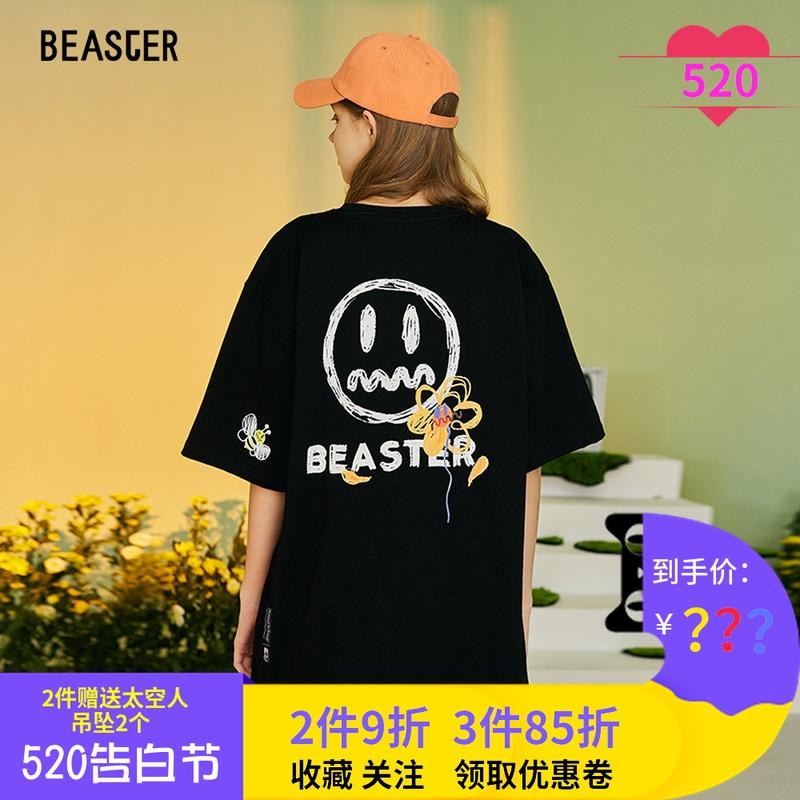 Beaster小恶魔鬼脸花朵短袖男字母手绘潮流圆领宽松上衣情侣T恤夏图片