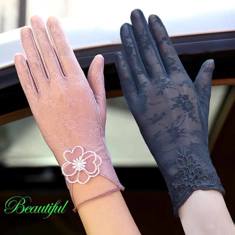 夏天開車防曬手套女薄款防紫外線冰絲春秋短款蕾絲防曬手套彈力薄