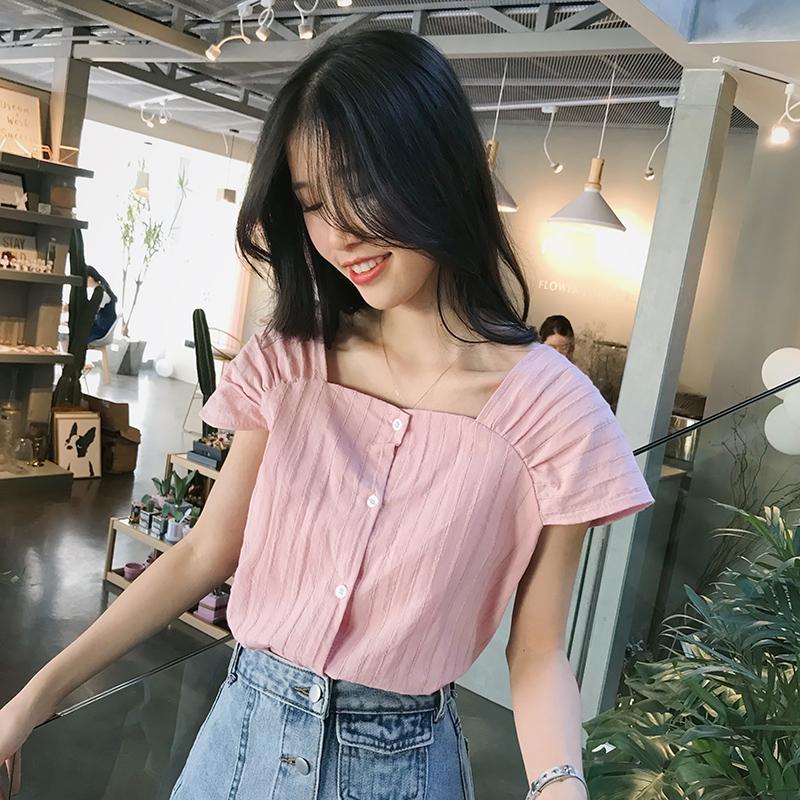 衬衫女2018新款chic条纹娃娃衫夏季韩范小清新漏锁骨方领心机上衣