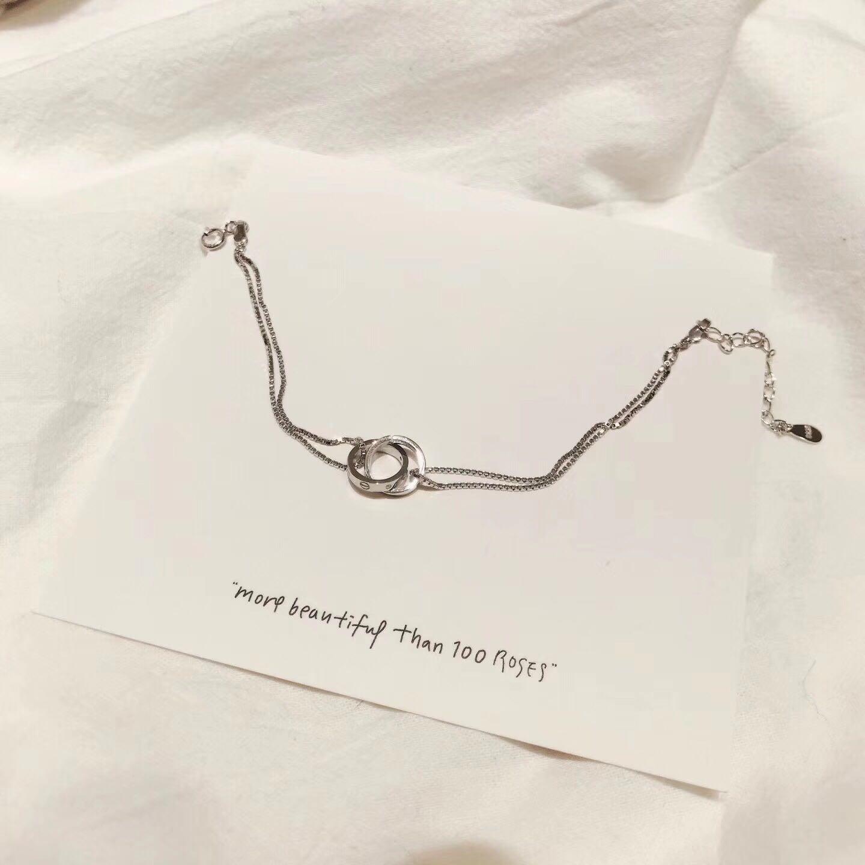 现货925纯银 双环手链手镯项链 可调节明星同款港风少女气质 刻字