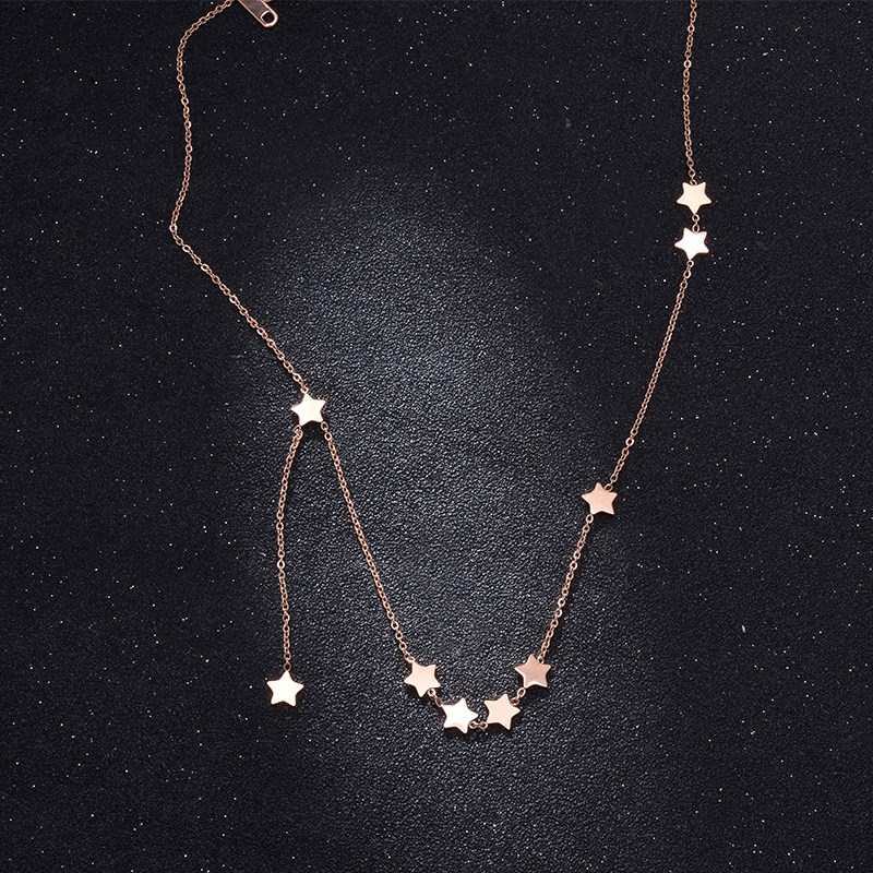 Five pointed star tassel titanium steel clavicle chain rose gold net red decoration Star Pendant neck chain short necklace Female Minority