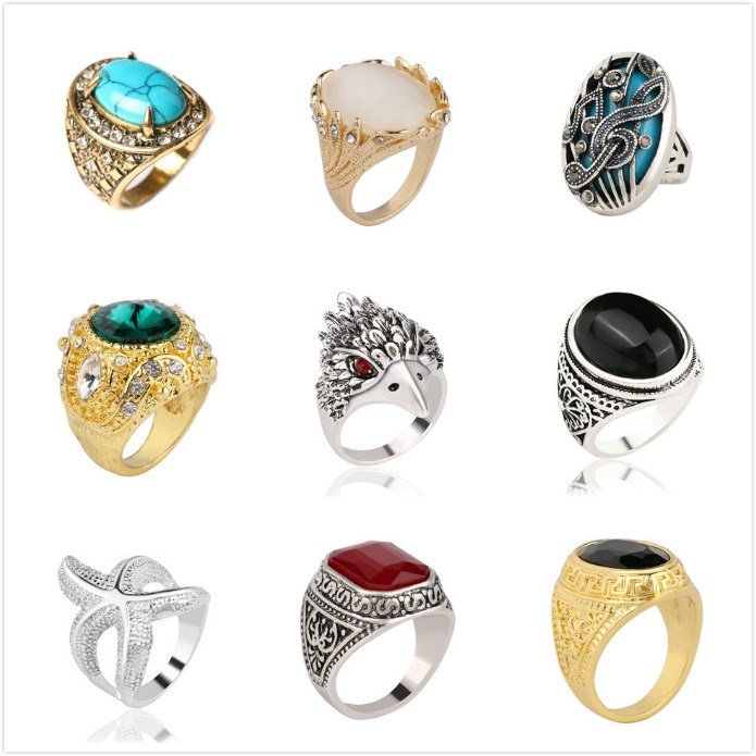 European and American retro carved diamond inlaid gemstone mens ring trend ring womens agate fashion big starfish couple ring