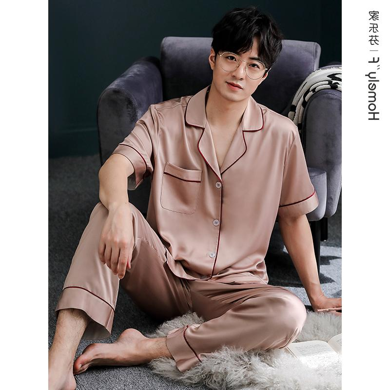 High end hot selling pajamas mens summer silk ice silk thin short sleeve trousers home wear mens summer imitation