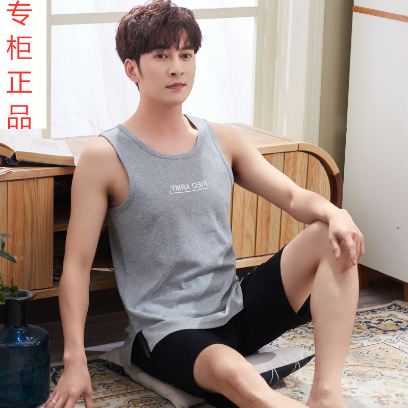 High quality pajamas mens summer vest pure cotton thin youth mens sleeveless Plus Size Cotton summer home