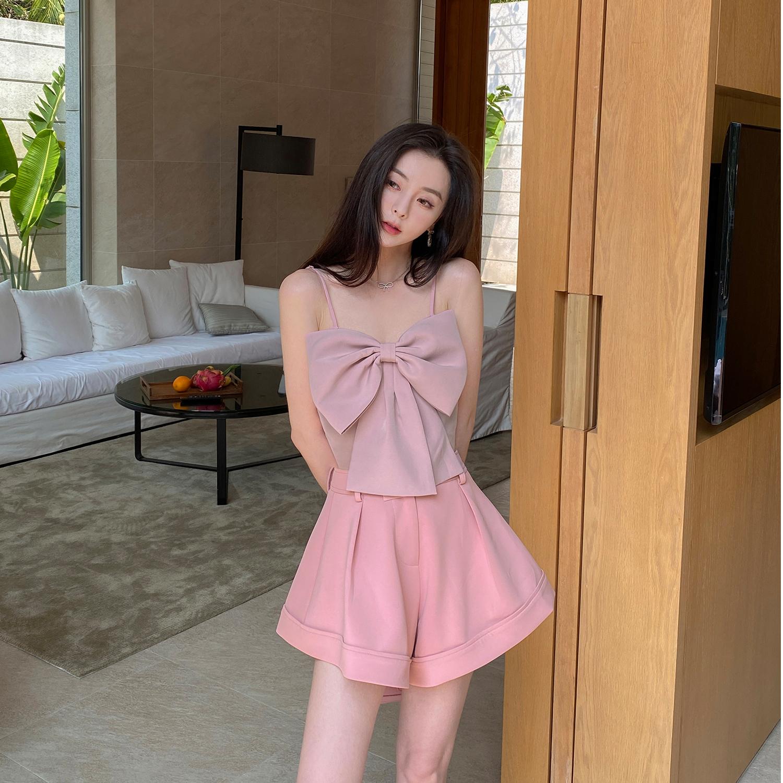 徐琳mini蝴蝶结吊带小背心女2021夏季法式外穿内搭打底衫短款上衣
