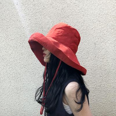 超大帽檐遮脸渔夫帽女夏天防紫外线遮阳帽防晒日系百搭帽子韩版潮