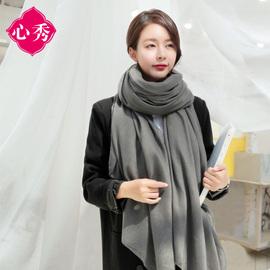 棉麻围巾女春秋冬季纯色亚麻披肩两用韩版百搭长款学生丝巾保暖脖