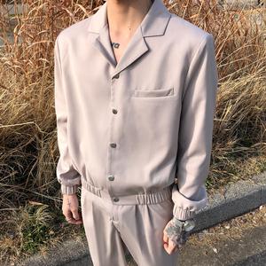 子上男装 韩版简约纯色短款西装套装男西服帅气一套