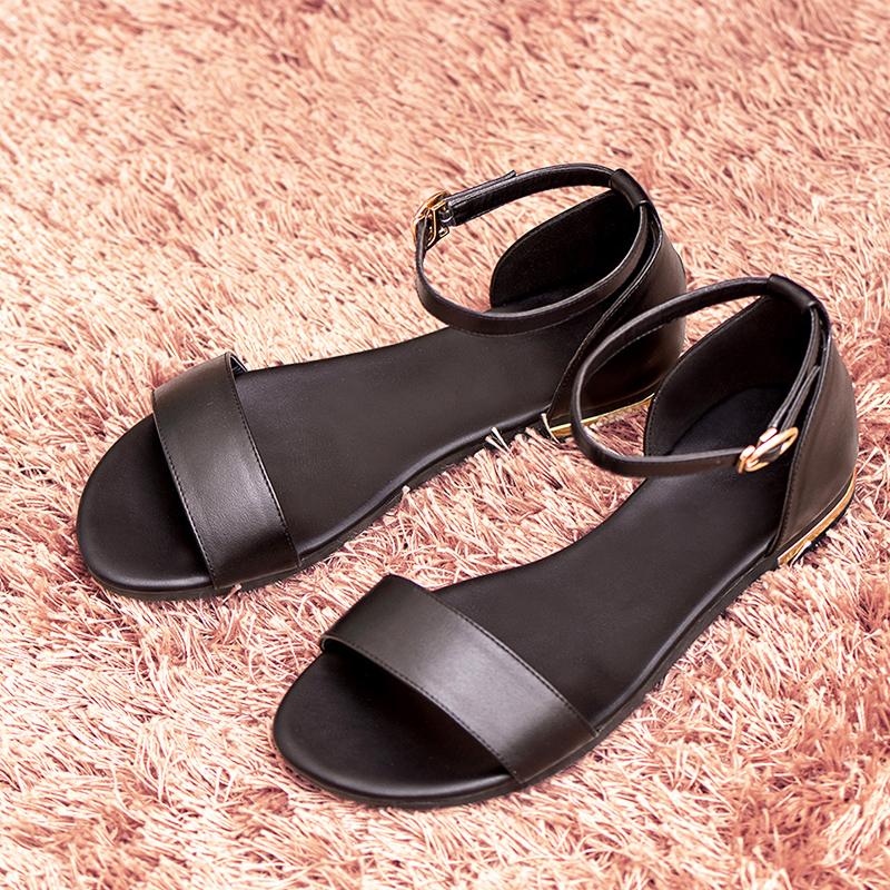 凉鞋女夏2020年新款简约小学生真皮罗马鞋百搭大码软底孕妇平底鞋