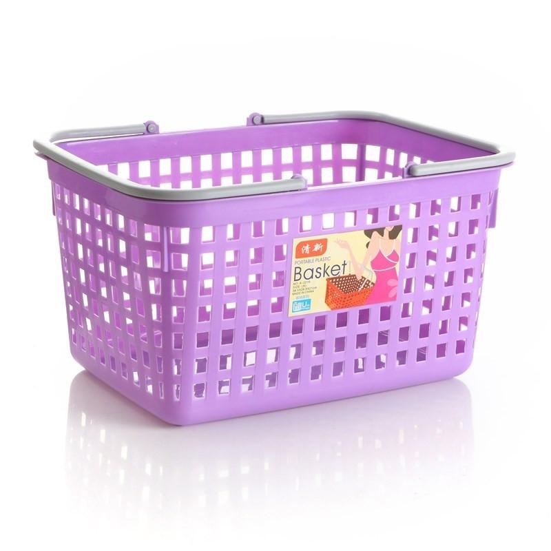 超市购物篮买菜蓝平底篮家用框子手提筐加厚加大塑料篮子提篮水果