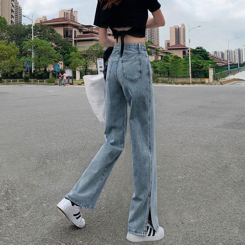 浅色开叉阔腿牛仔裤女直筒宽松泫雅风高腰2020夏季薄款垂感拖地裤