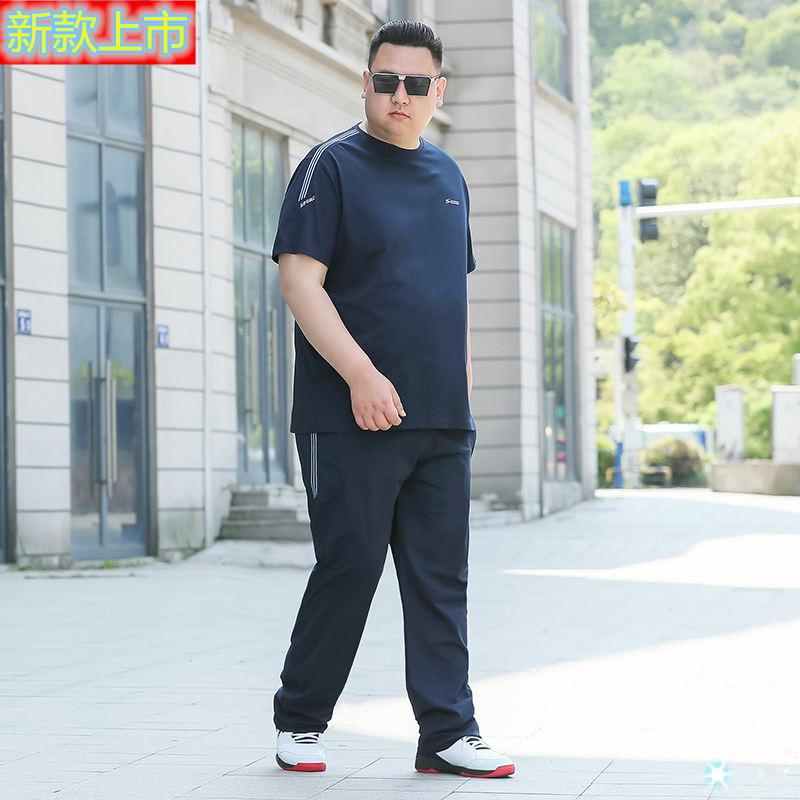 High grade brand middle aged and elderly mens large sports suit mens Lapel short sleeve T-shirt summer fat mens wide