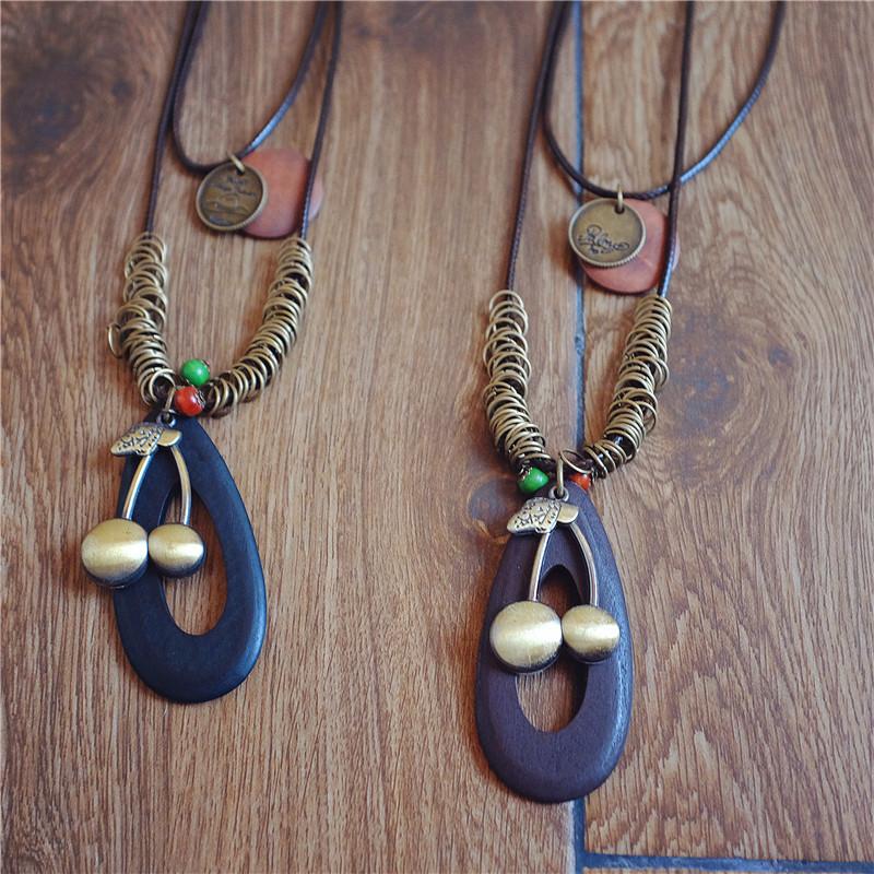 Retro style e-commerce jewelry source Korea wax rope multi-layer simple alloy cherry Pendant Necklace