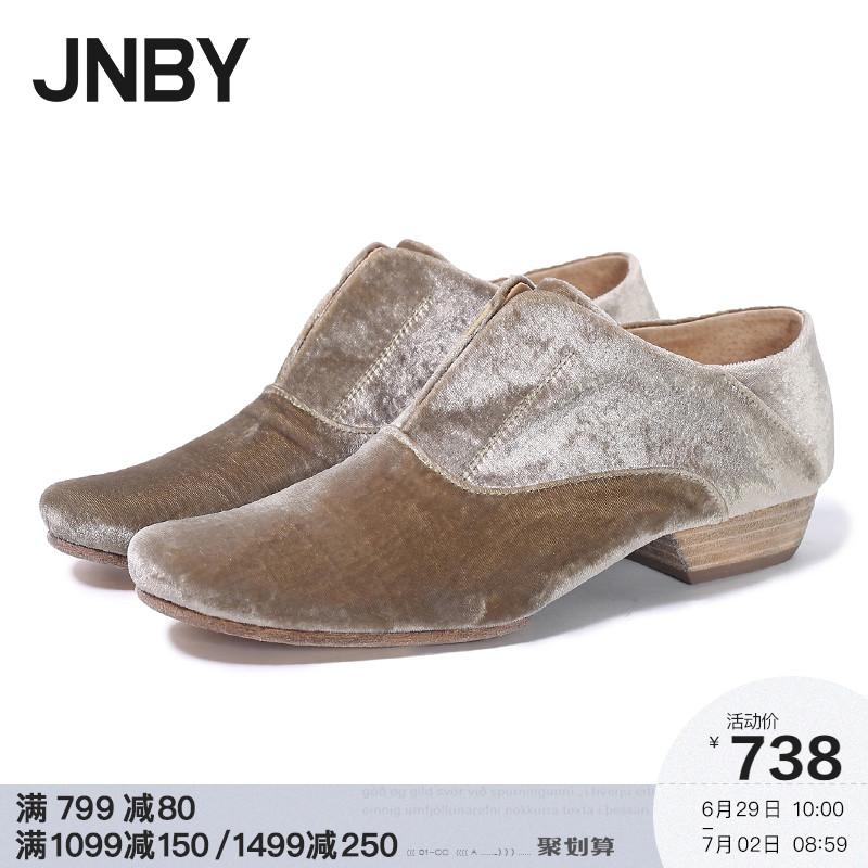 jnby江南布衣女装2019秋冬新款优雅舒适绒面圆头单鞋女7I7530600