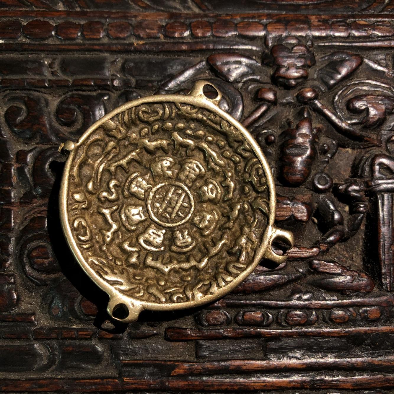 西藏藏传 特色手工艺真品百年利玛铜老九宫护身祛邪保平安