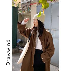 【现货5折】军绿色工装棉服女冬季加厚长款立领收腰港风棉衣外套