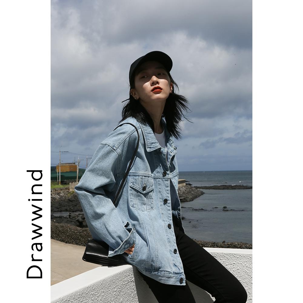 画风drawwind牛仔衣女宽松百搭春韩版bf风港味上衣牛仔夹克短外套