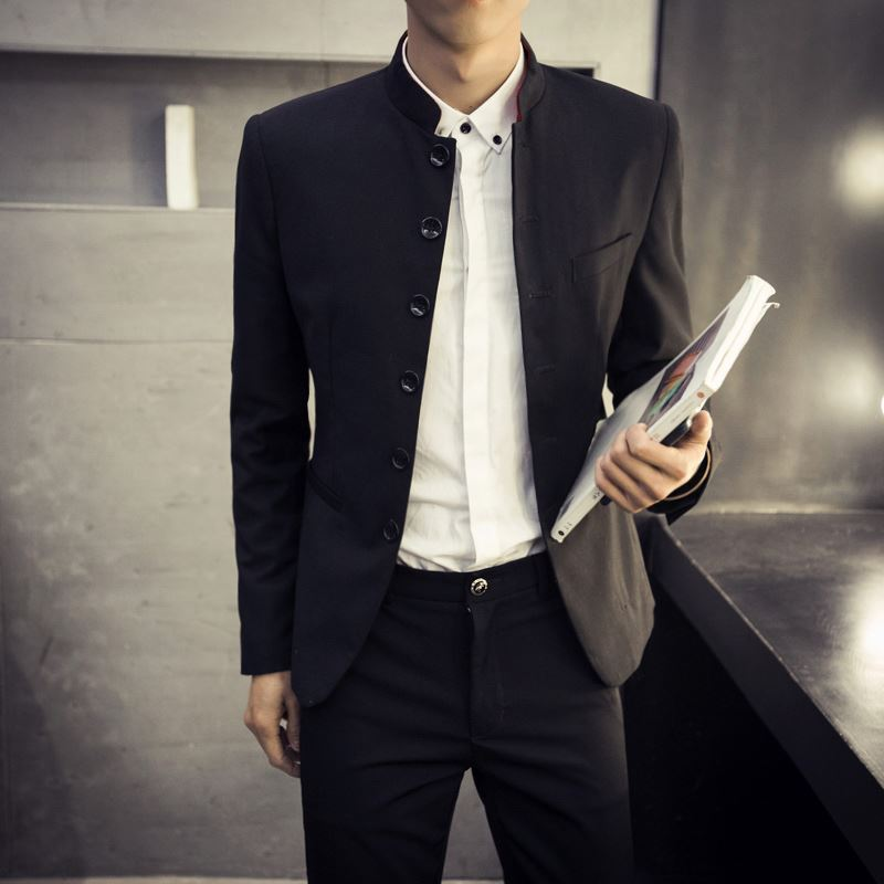 Mens stand collar Zhongshan suit autumn Korean slim fit young students leisure Chinese small suit