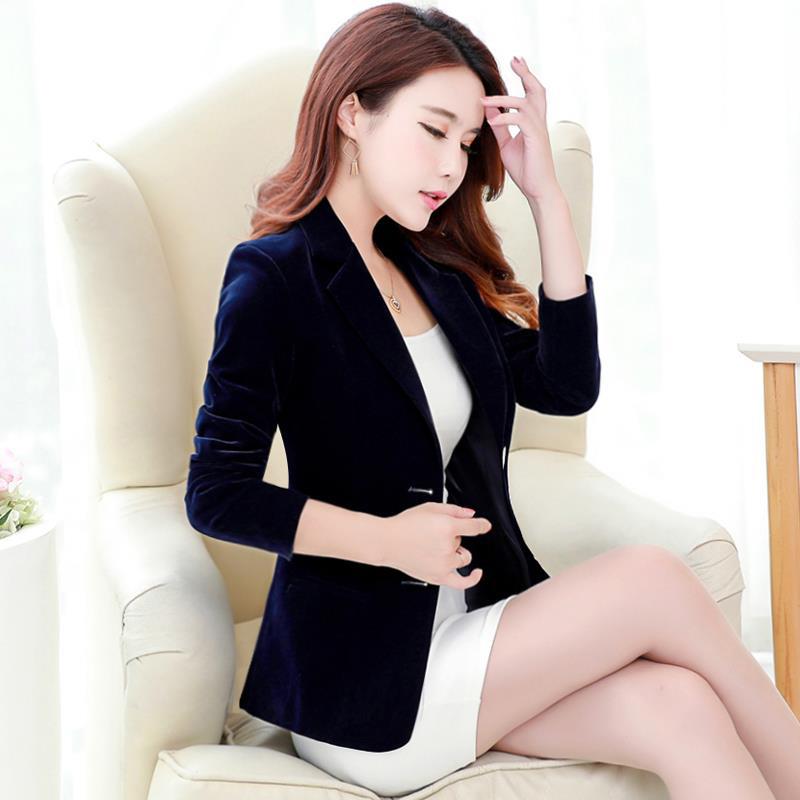 Golden velvet suit fall 2020 new velvet suit casual Korean slim velvet suit
