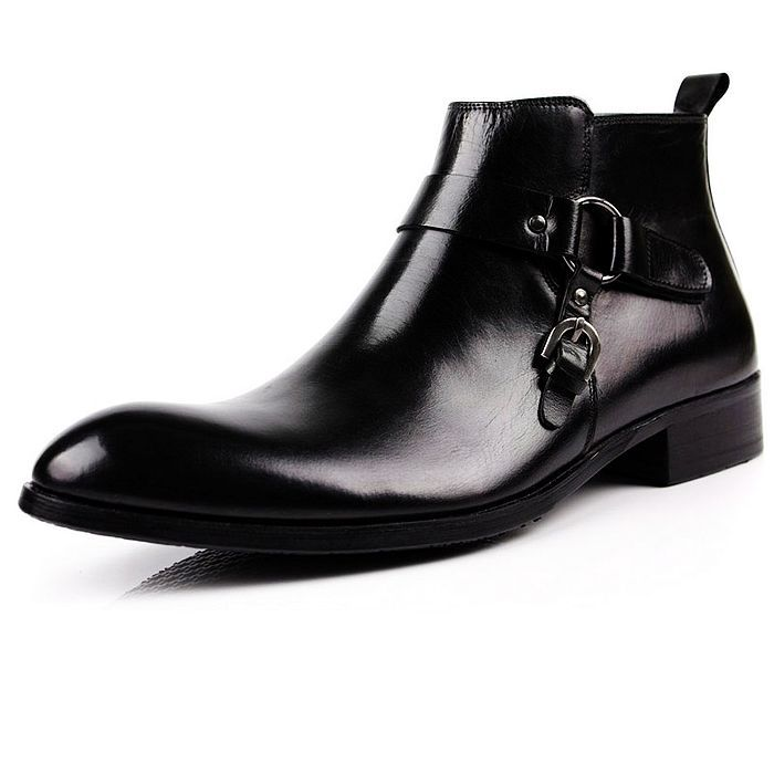 Light luxury brand mens short boots Korean fashion pointed leather boots British leisure high top shoes business dress top