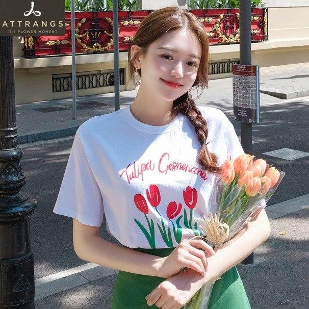 韩国官网代购attrangs新款女夏装甜美可爱郁金香花朵短袖T恤0627