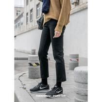 新款春弹力九分学生显瘦休闲少女裤百搭2019韩版高腰黑色直筒裤女