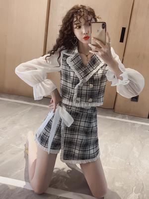 小香风套装裙西装格子连衣裙女装时尚新款2020春装气质两件套洋气