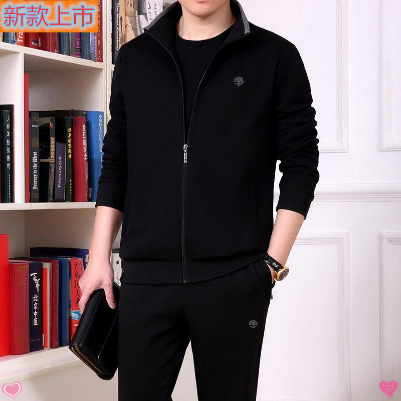 361 high grade genuine brand 2020 spring and autumn clothing middle aged and elderly cotton leisure suit cardigan Lapel loose version sport