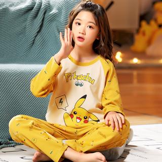 女童纯棉长袖睡衣春秋薄可爱女孩两件套少女8-9周岁12-14家居服15