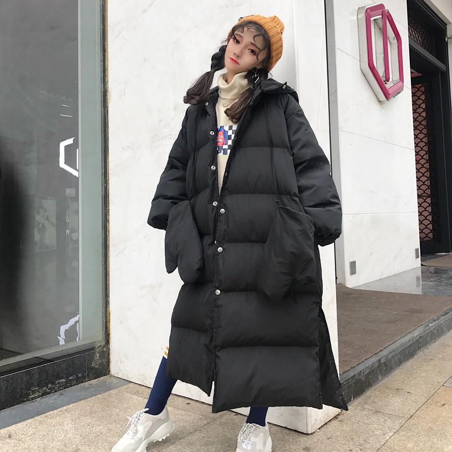 Зима женщины корейский харадзюку bf ветер закрытый длинная модель теплый хлеб одежда плотный хлопок одежда хлопок студент ватник волна