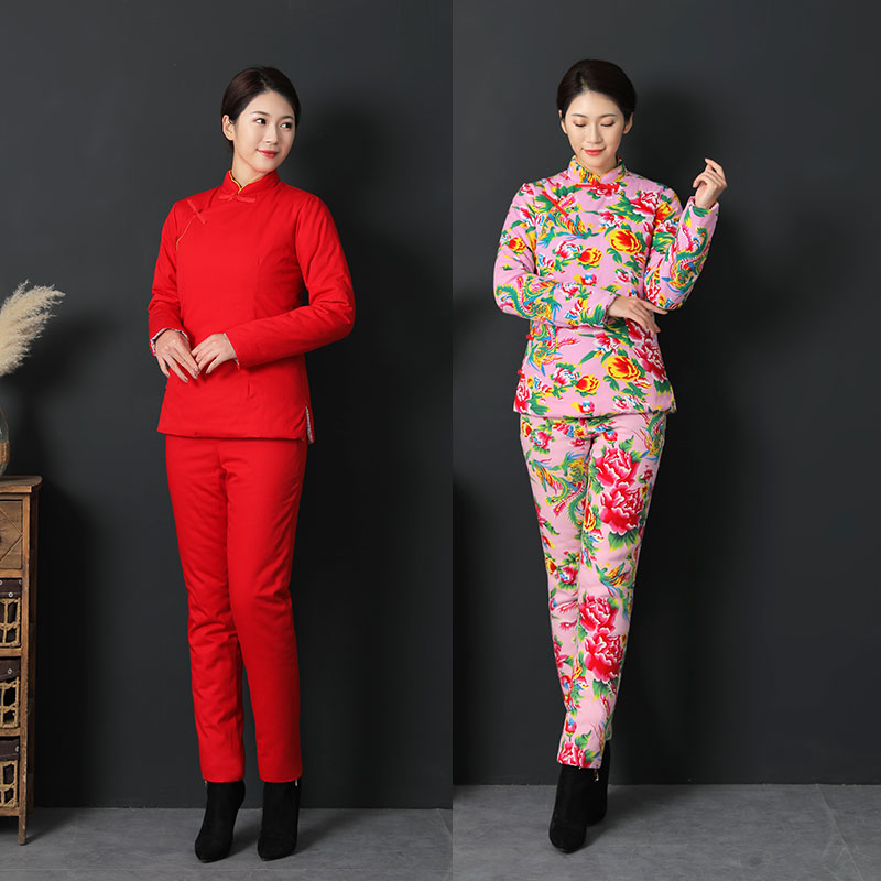 Northeast big flower womens winter cotton dress coat with slant front, hand-made cotton coat and trousers set, thickened cotton disc button cotton padded coat