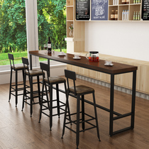 Wrought iron solid wood bar table bar high table creative wall dining table Starbucks milk tea shop manager table