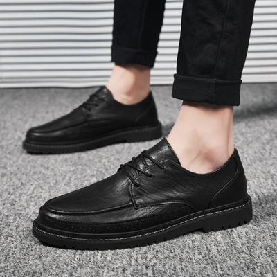 社会英伦风黑色小皮鞋男士休闲男鞋