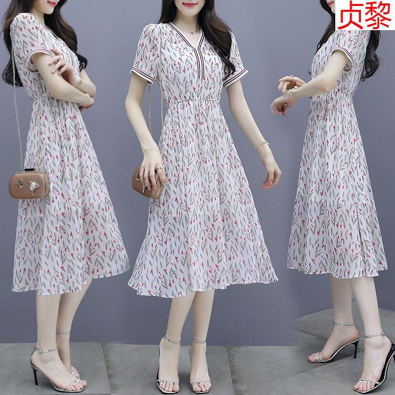 夏装2020显卡复古时尚减龄印花短袖雪纺连衣裙女中长款收腰桔梗裙