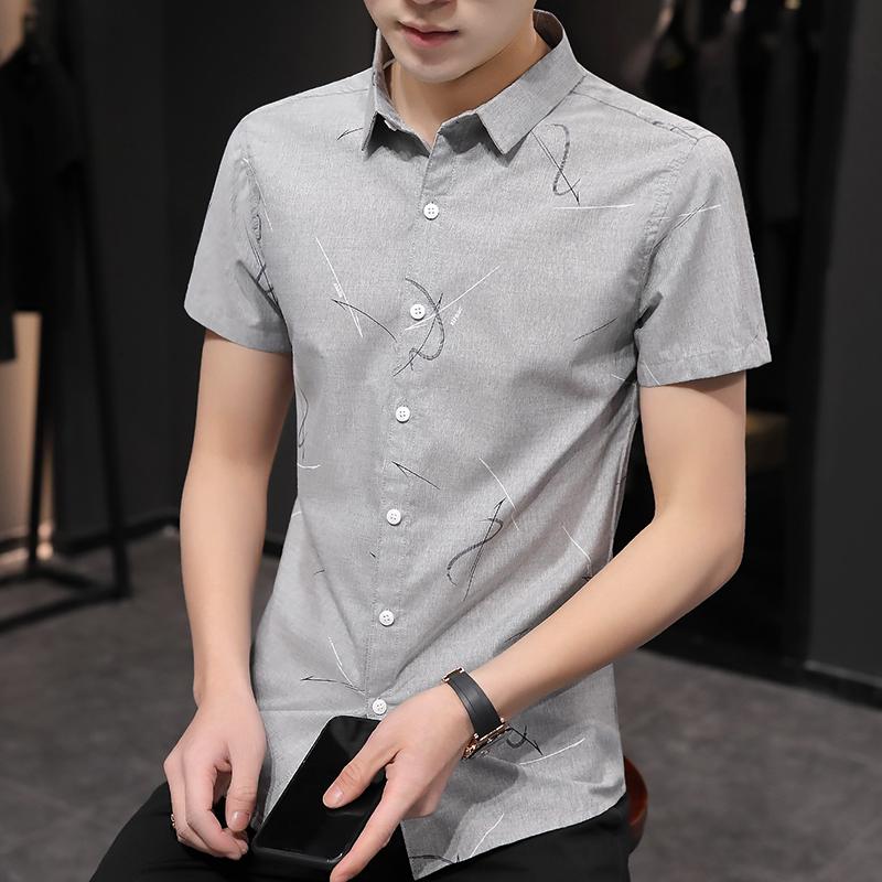 夏季男士短袖衬衫条纹韩版帅气印花