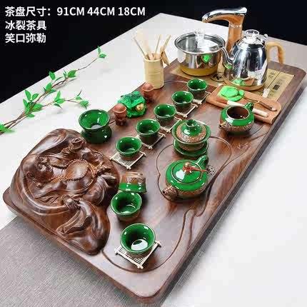 茶具套装家用电磁炉陶瓷功夫茶盘整套喝茶全自动茶道茶台约实木
