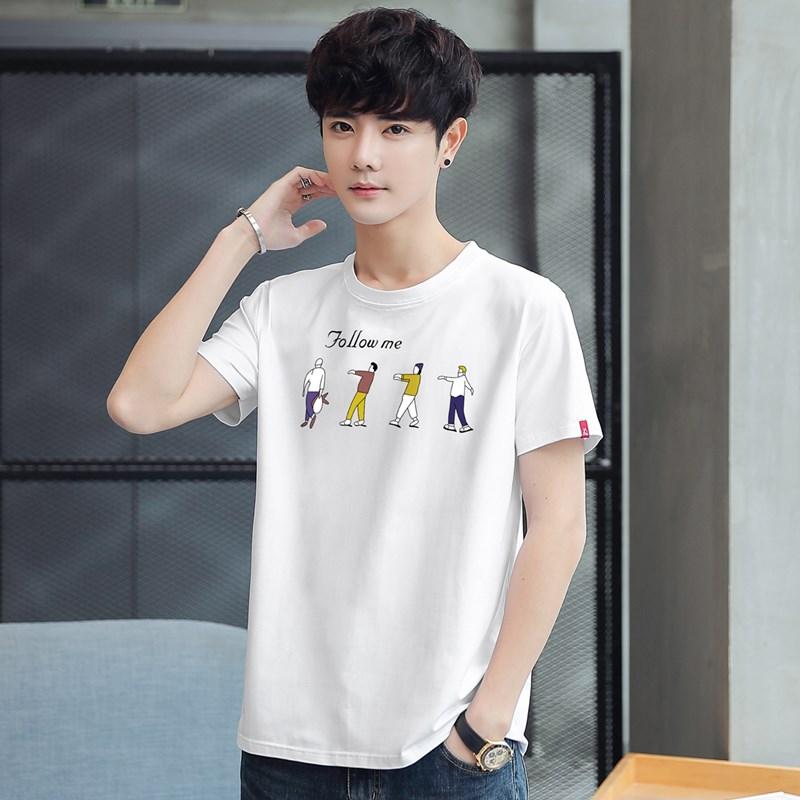夏季新款短袖男宽松加大码T恤韩版潮流半袖男士简约百搭体恤上衣