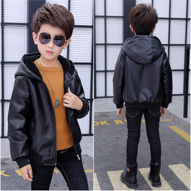 Boys Hooded Coat winter clothing 2019 new childrens plush and thickened PU leather jacket baby winter coat fashion