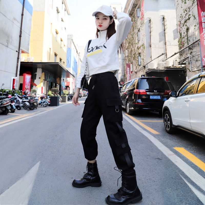 2020秋冬新款套装女短款卫衣字母印花高腰显瘦工装运动风帅气长裤