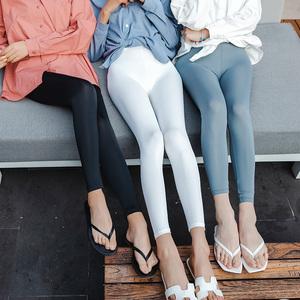 春秋夏季九分薄款冰丝打底裤女外穿韩版弹力高腰显瘦光滑紧身凉凉